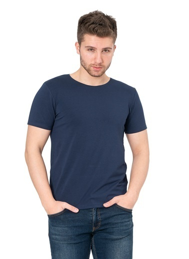 White Stone Los Alcarrizos Slim Fit Düz Sıfır Yaka T-Shirt Beyaz Lacivert